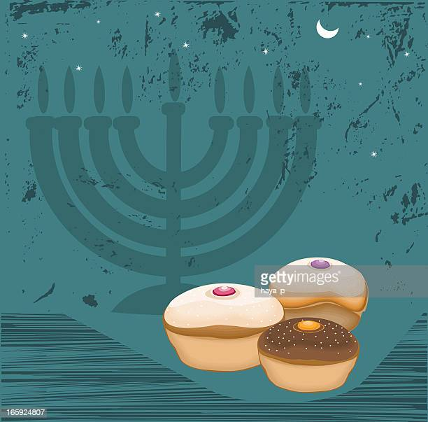 hanukkah, donuts, menorah - sufganiyah stock illustrations