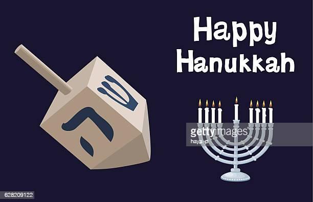 hanukkah dreidel on dark background and menorah - hanukkah stock illustrations, clip art, cartoons, & icons