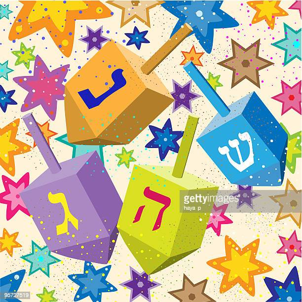 hanukkah dreidels on background, colorful stars of david, jewish holiday - dreidel stock illustrations, clip art, cartoons, & icons