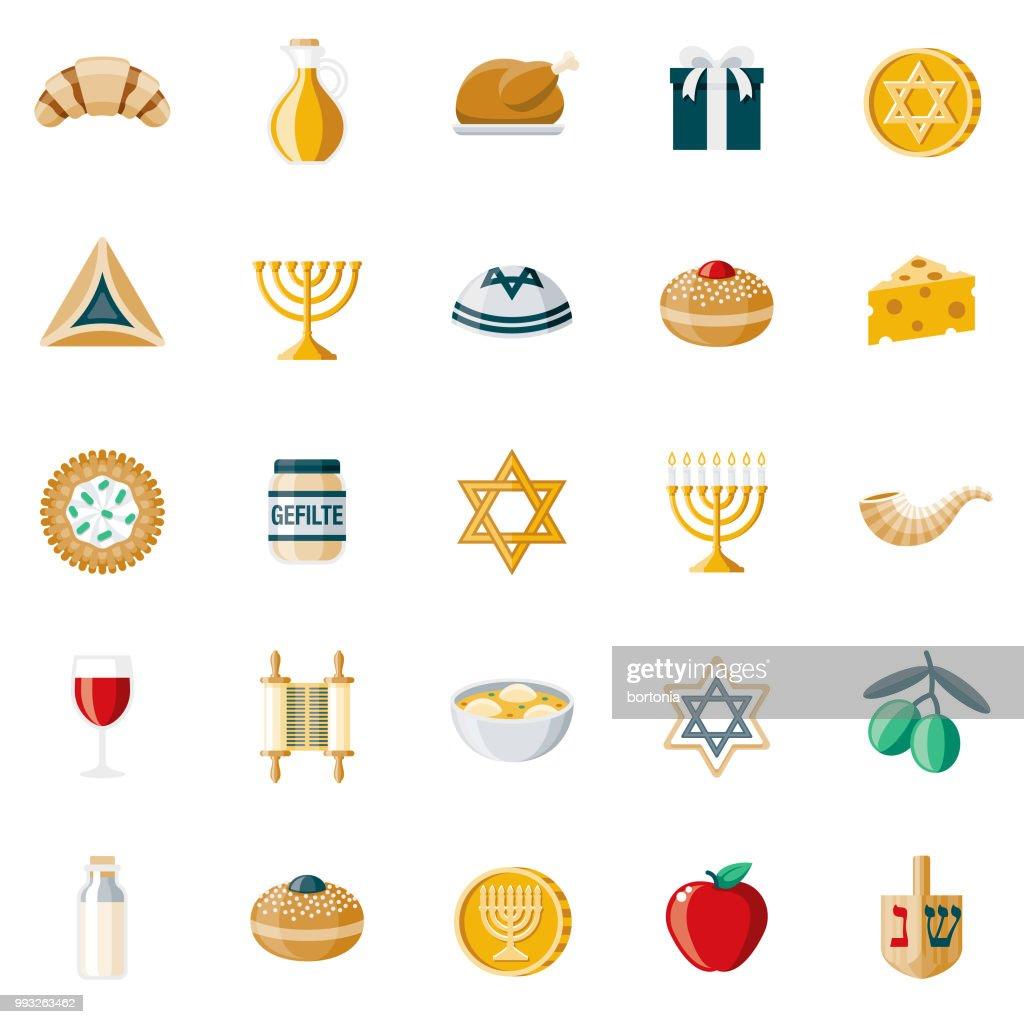 Hanukkah Flat Design Icon Set : stock illustration