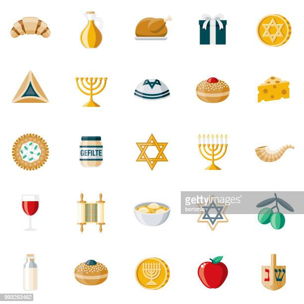 hanukkah flat design icon set - torah stock illustrations