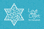 Hanukkah greeting card template. Hand drawn David star with curled pattern with handwritten lettering Love and Light on blue patterned background.