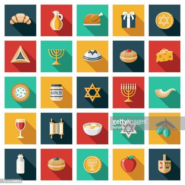 hanukkah icon set - sufganiyah stock illustrations