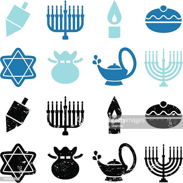 hanukkah icons - dreidel stock illustrations, clip art, cartoons, & icons