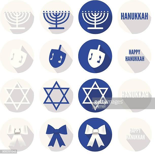 hanukkah icons - vector - dreidel stock illustrations, clip art, cartoons, & icons