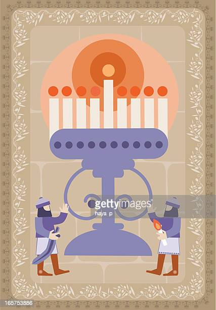 hanukkah illustration with candlestick and maccabees - wailing wall stock illustrations, clip art, cartoons, & icons