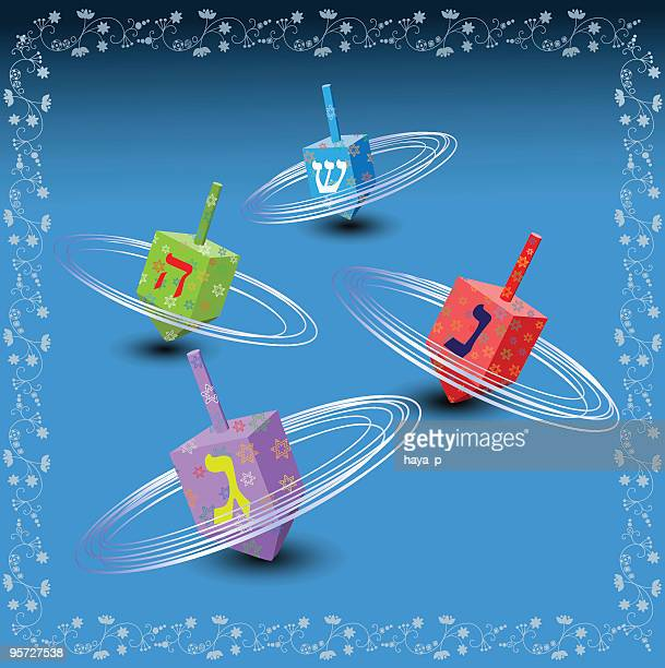 hanukkah illustration with colorful spinning dreidels - dreidel stock illustrations, clip art, cartoons, & icons