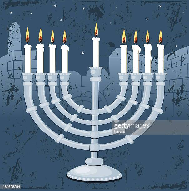 hanukkah in jerusalem - wailing wall stock illustrations, clip art, cartoons, & icons