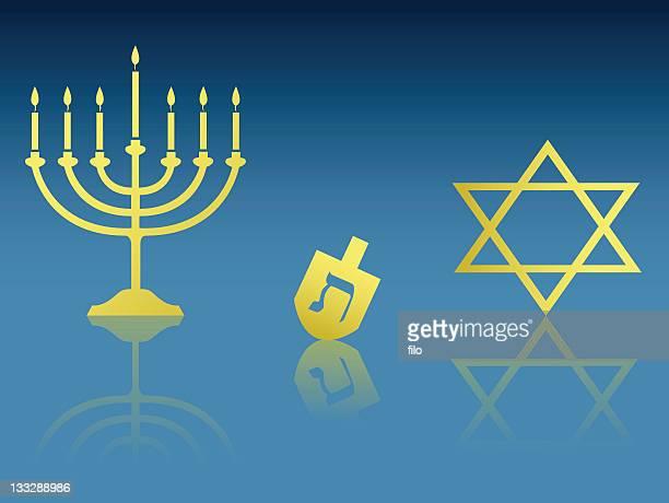 hanukkah items - dreidel stock illustrations, clip art, cartoons, & icons