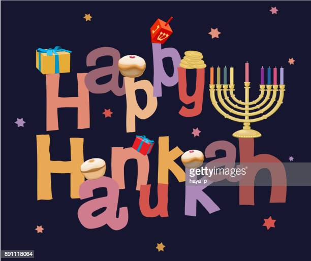 "hanukkah, jewish holiday, ""happy hannukah"" - message, word-text, jew holidays background decor, menorah - sufganiyah stock illustrations"