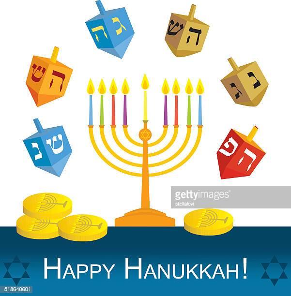 hanukkah menorah and dreidels - hanukkah stock illustrations, clip art, cartoons, & icons