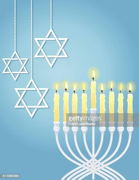 hanukkah menorah and star of david - hanukkah stock illustrations, clip art, cartoons, & icons