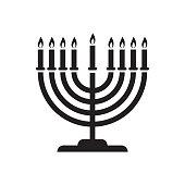Hanukkah menorah candelabrum with nine lit candles