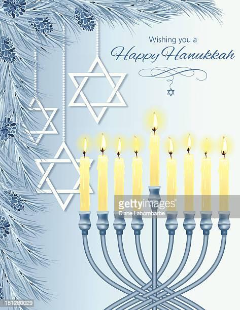 hanukkah menorah card - hanukkah stock illustrations, clip art, cartoons, & icons