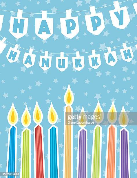 hanukkah menorah greeting card or background - dreidel stock illustrations, clip art, cartoons, & icons