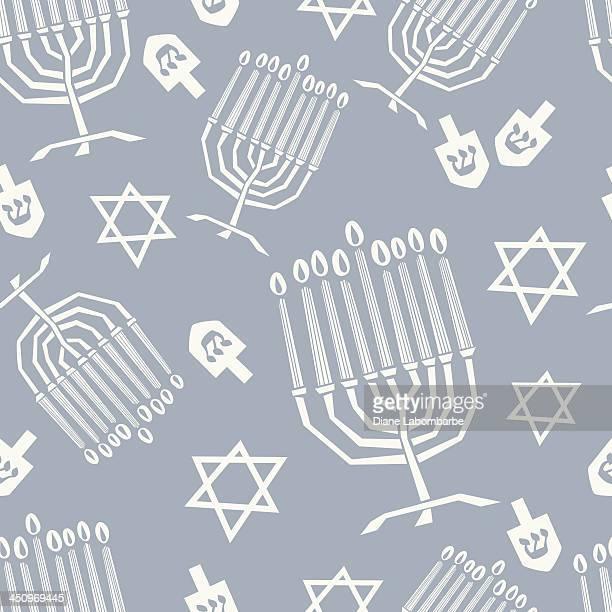 hanukkah menorah seamless pattern - dreidel stock illustrations, clip art, cartoons, & icons