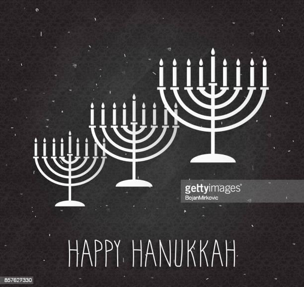 hanukkah poster with menorah on black chalkboard. handwritten text - hanukkah stock illustrations, clip art, cartoons, & icons