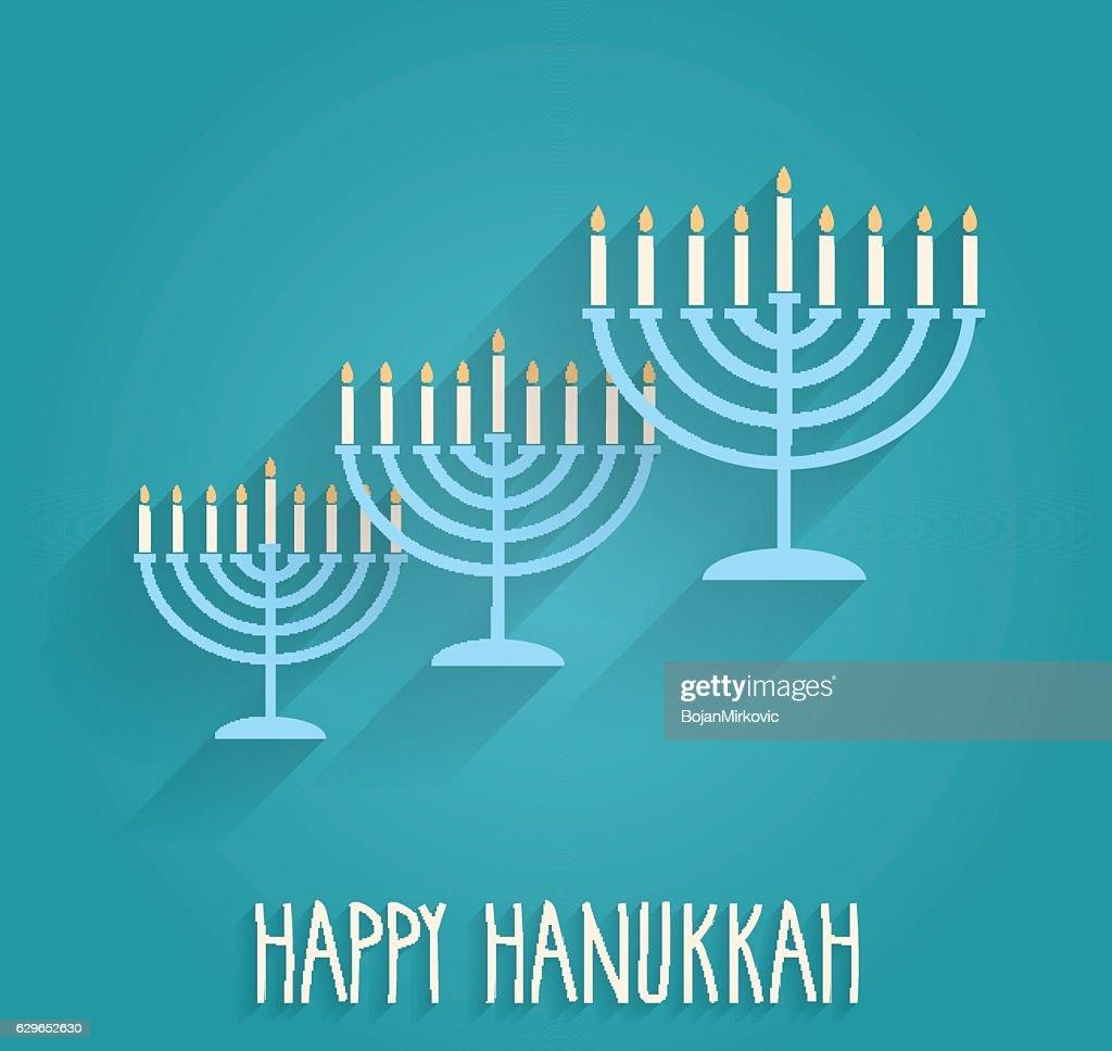 Hanukkah poster with menorah on blue background : stock illustration