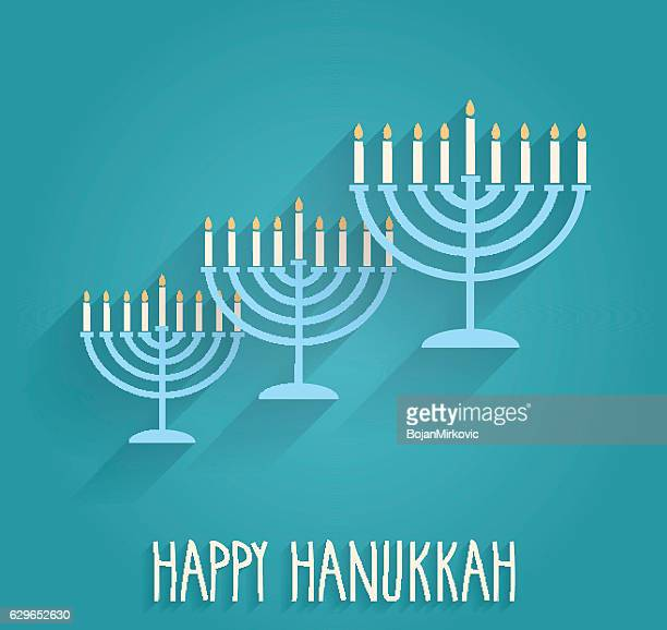 illustrations, cliparts, dessins animés et icônes de hanukkah poster with menorah on blue background - hanoukka