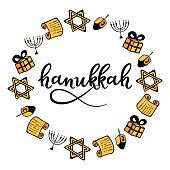 Hanukkah round frame in doodle style. Traditional attributes of the menorah, dreidel, gift, Torah, star of David. hand lettering