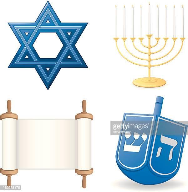 hanukkah set - hanukkah stock illustrations, clip art, cartoons, & icons