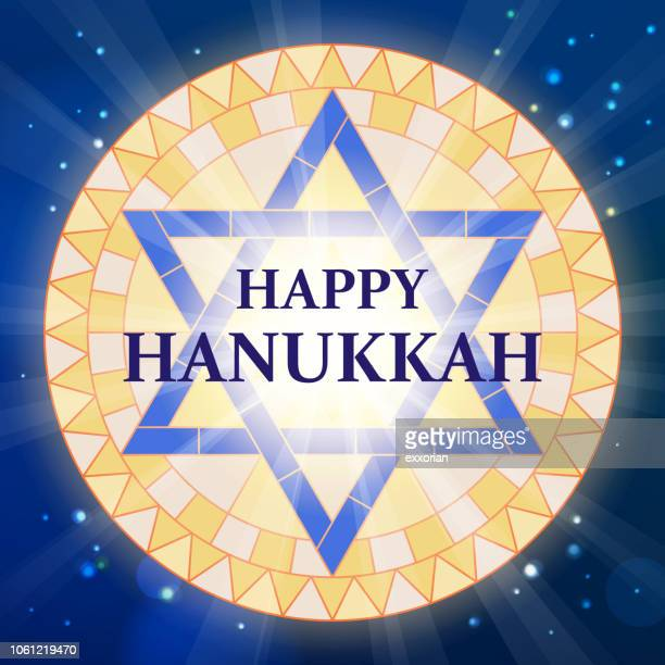 hanukkah star of david stained glass - nuclear fallout stock illustrations