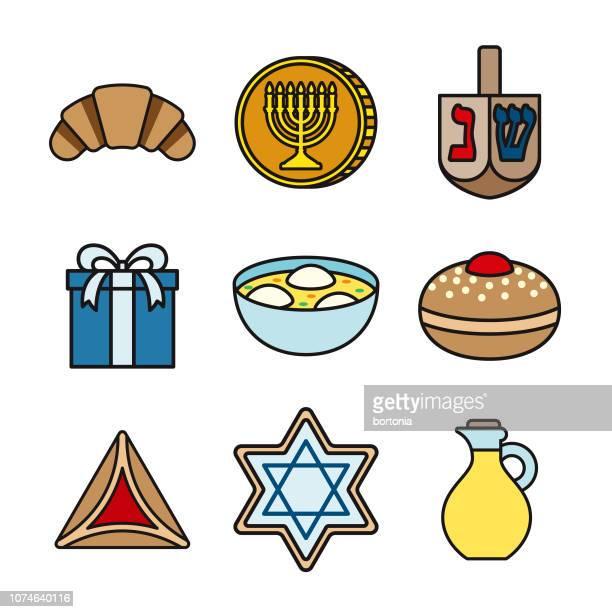 hanukkah thin line icon set - sufganiyah stock illustrations