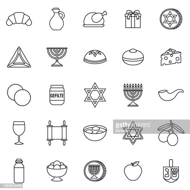 illustrations, cliparts, dessins animés et icônes de hanukkah fine ligne contour icon set - hanoukka