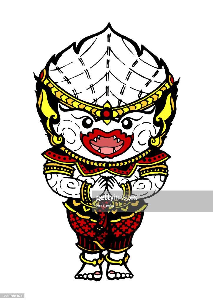 hanuman white monkey hello drawing, vector design illustration hand drawn