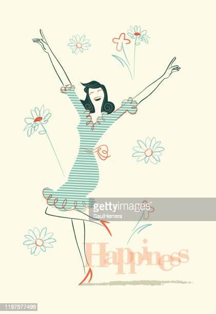 happiness - satire stock illustrations
