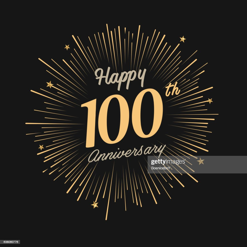 Happy 100th Anniversary with fireworks and star