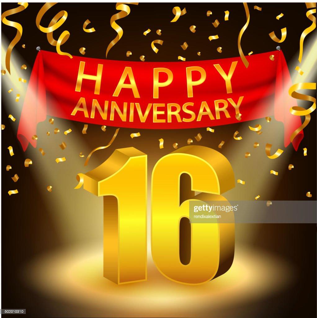 Happy 16th Anniversary celebration with golden confetti and spotlight
