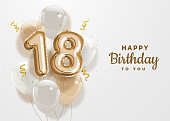 Happy 18th birthday gold foil balloon greeting background.