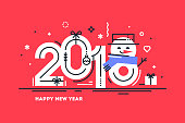 Happy 2018 New Year flat thin line horizontal greeting card or banner with cute snowman instead number 8. Bright Christmas template for print or web. Vector illustration.