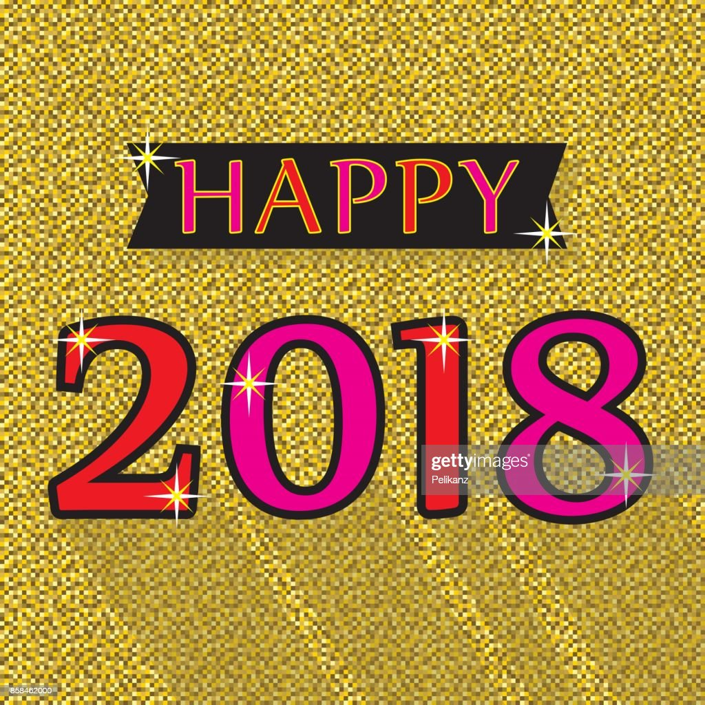 Happy 2018 red and pink emblem on golden background texture