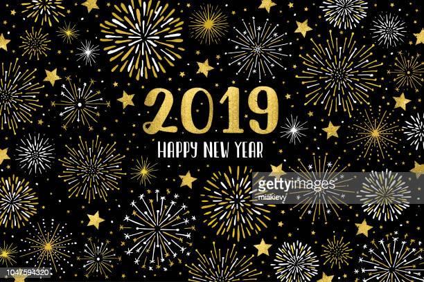 stockillustraties, clipart, cartoons en iconen met happy 2019 vuurwerk - nieuwjaar