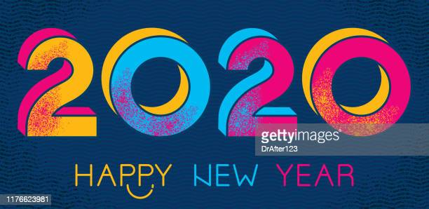 happy 2020 new year - happy new month stock illustrations