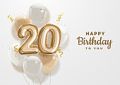 Happy 20th birthday gold foil balloon greeting background.