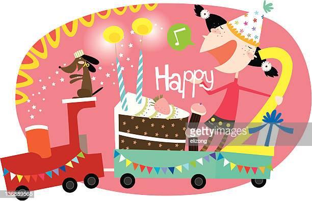 ilustrações de stock, clip art, desenhos animados e ícones de feliz aniversário, 2nd rapariga! - número 2