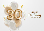 Happy 30th birthday gold foil balloon greeting background.