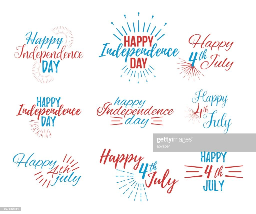 Happy 4 Th July And Independence Day Greeting Cards Vector Art