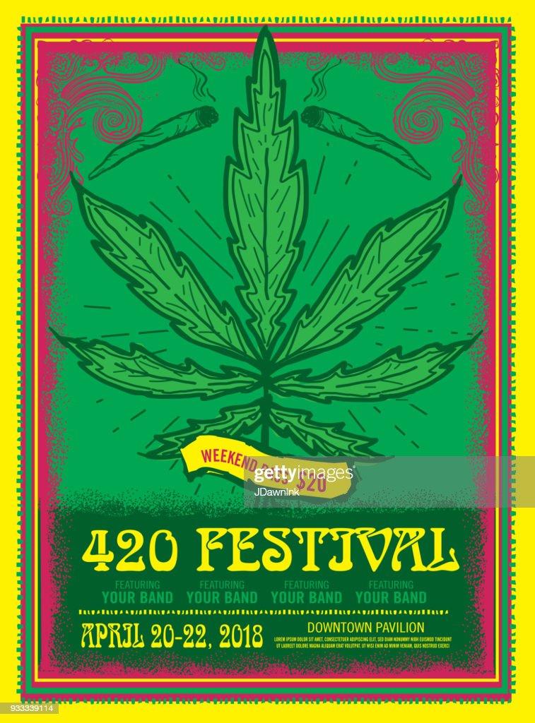 Happy 420 Festival design poster template : stock illustration