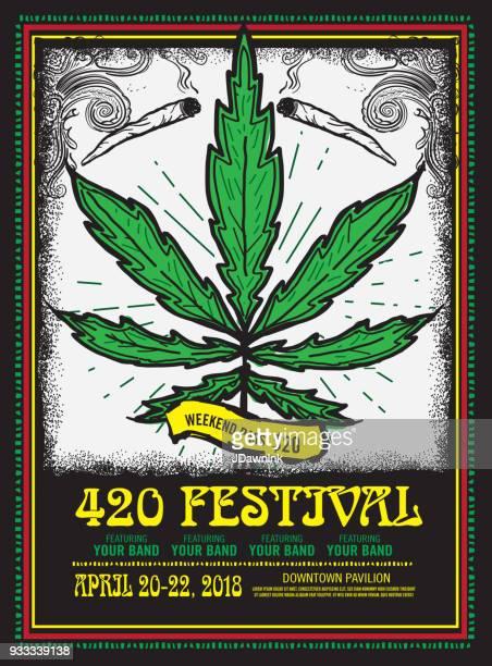 happy 420 festival design poster template - marijuana leaf text symbol stock illustrations, clip art, cartoons, & icons