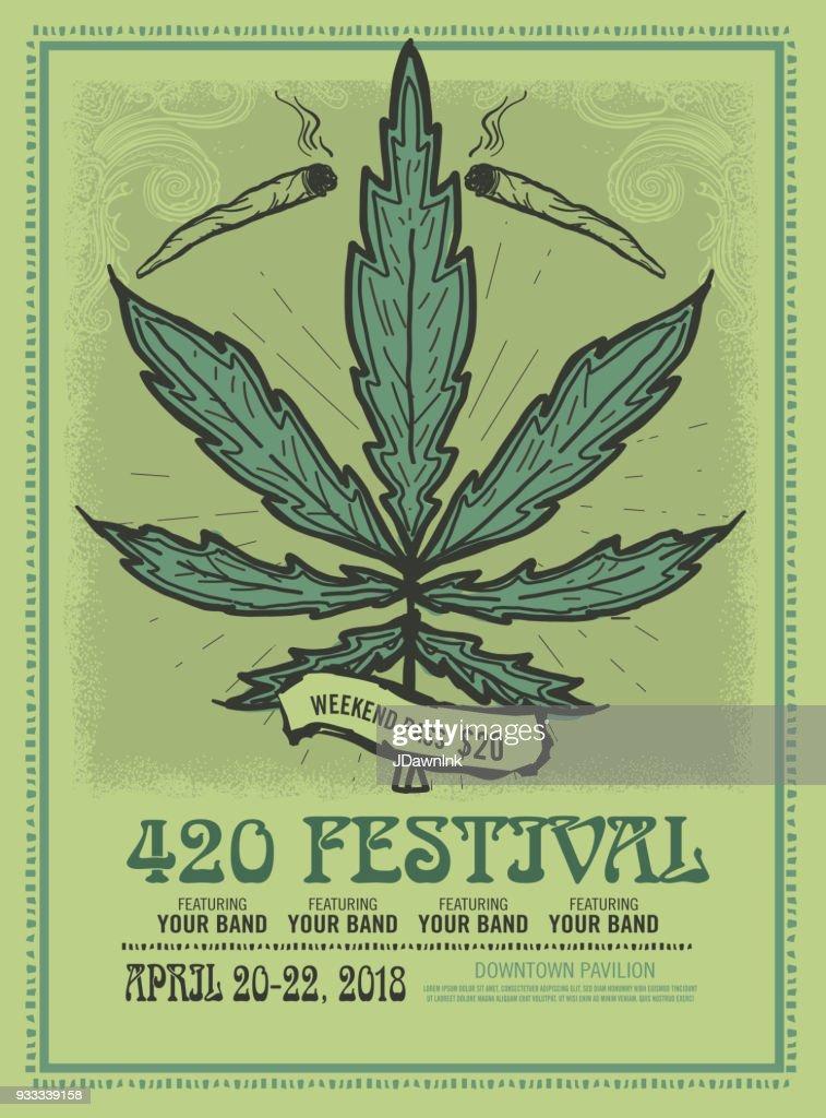 Feliz 420 modelo de cartaz do Festival design : Ilustração