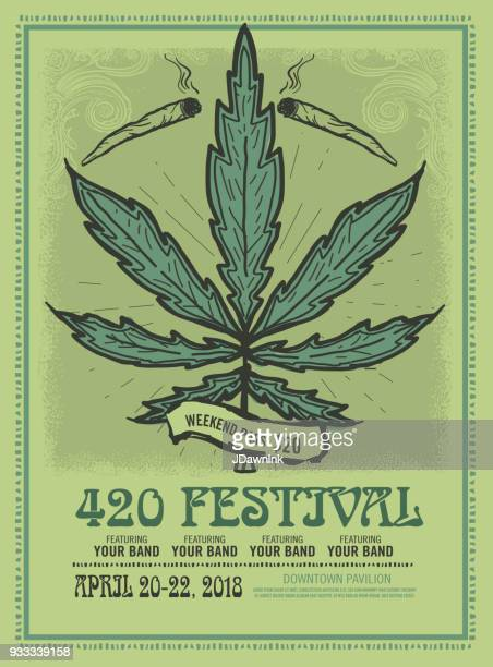 happy 420 festival design poster template - marijuana leaf text symbol stock illustrations, clip art, cartoons, & icons