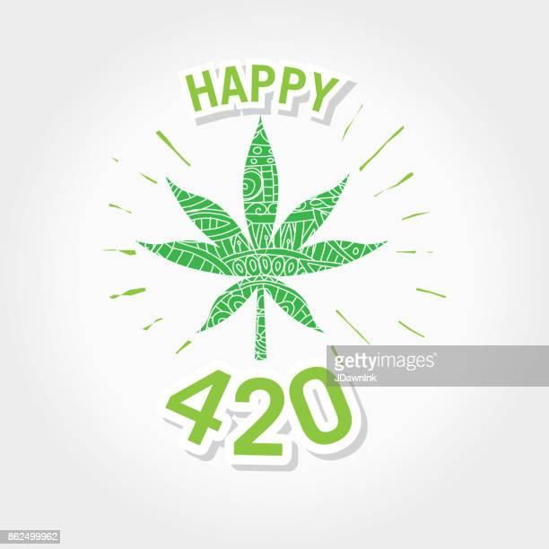 happy 420 marijuana greeting design template with hand drawn elements - marijuana leaf text symbol stock illustrations, clip art, cartoons, & icons