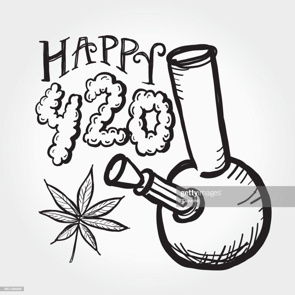 Happy 420 Marijuana Greeting design template with hand drawn elements : Stock Illustration