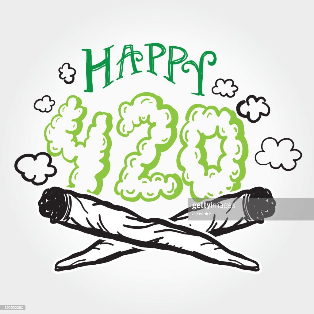 Feliz 420 saudação maconha modelo de design com mão desenhada elementos : Ilustração