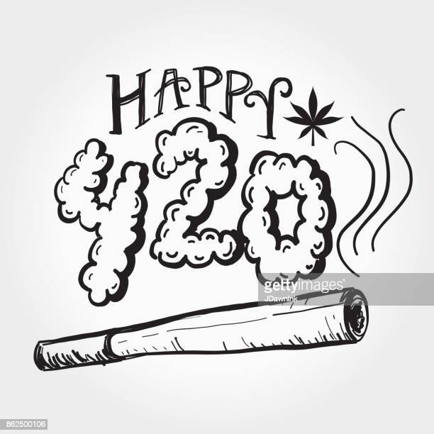 happy 420 marijuana greeting design template with hand drawn elements - marijuana leaf text symbol stock illustrations, clip art, cartoons, & icons
