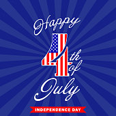 Happy 4th of July background. Fourth of July design. USA Independence day decoration. Vector illustration.